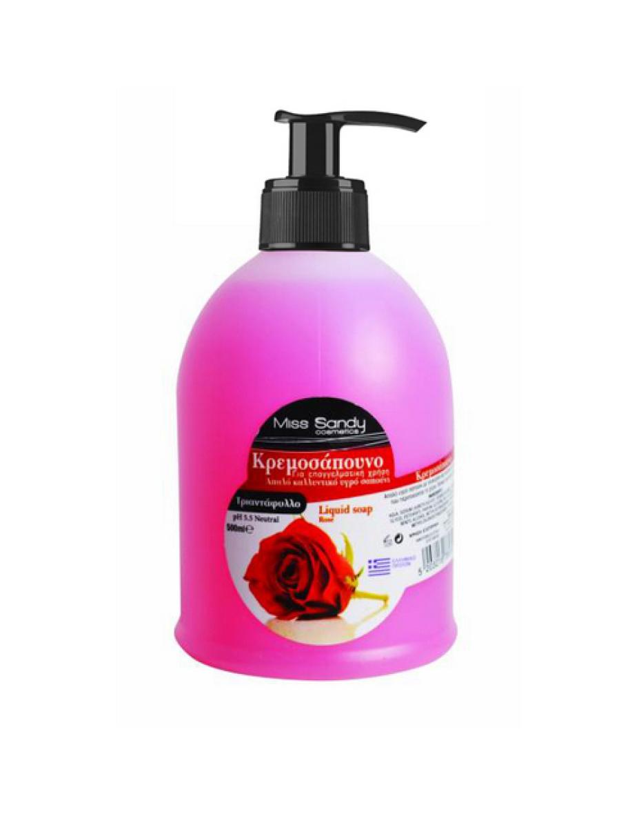 Жидкое мыло с дозатором роза 500мл Miss Sandy