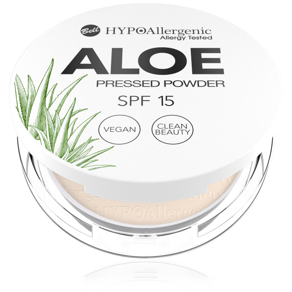 Пудра пресована Aloe Pressed Powder SPF15 01 Hypo Allergenic Bell
